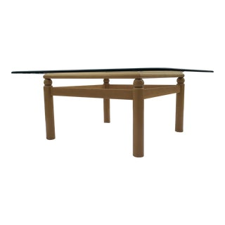 Mid-Century Modern Hardwood Base Square Thick Beveled Glass Top Coffee Table For Sale