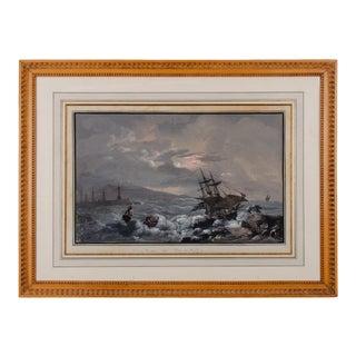 "Camillo De Vito ""View From Naples Pier"" Gouache Painting C.1820s For Sale"