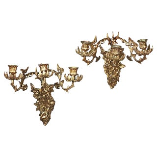 Antique Brass Acanthus Leaf & Floral Sconces - a Pair For Sale