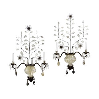 20th Century Neoclassical Maison Bagues Patinated-Metal Wall Lights - a Pair