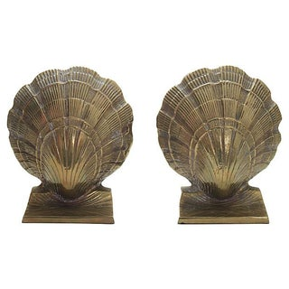 Brass Seashell Bookends - A Pair For Sale