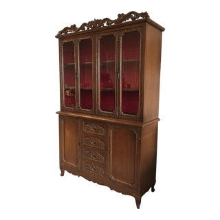 1960s Traditional Filipino Hand-Carved China Cabinet For Sale