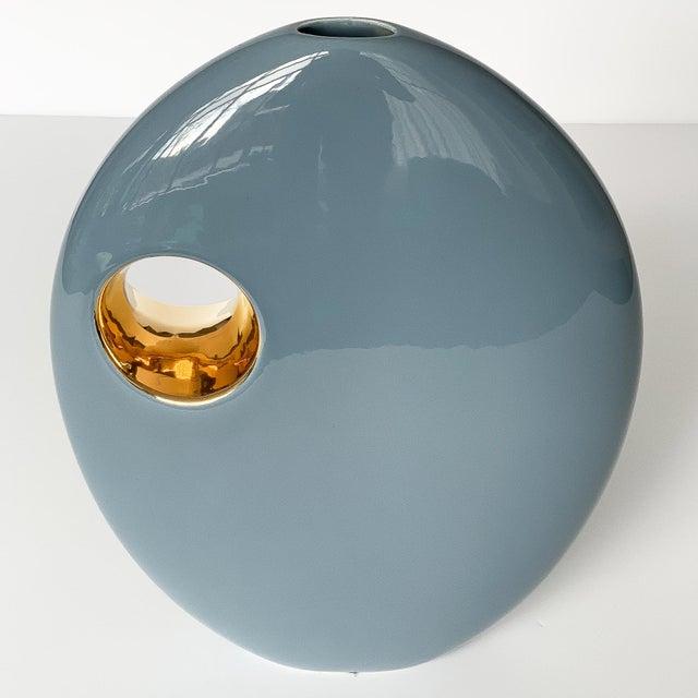 Ceramic Jaru Blue and Gold Sculptural Ceramic Vase For Sale - Image 7 of 13