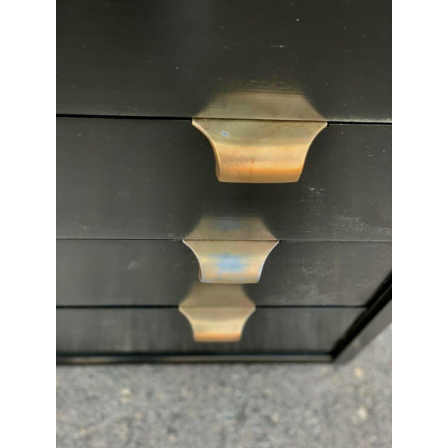 Metal Mid Century Modern Edward Wormley for Drexel Precdent Ebonized Lowboy For Sale - Image 7 of 9