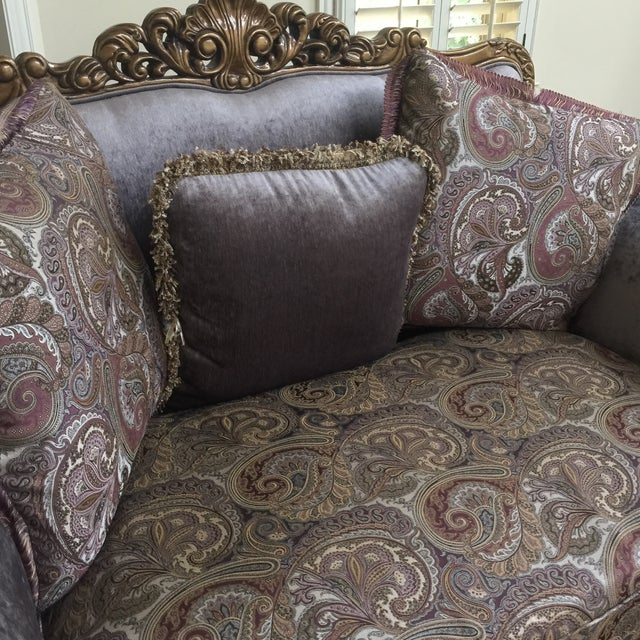 Fabric Purple & Paisley Loveseat With Pillows For Sale - Image 7 of 8