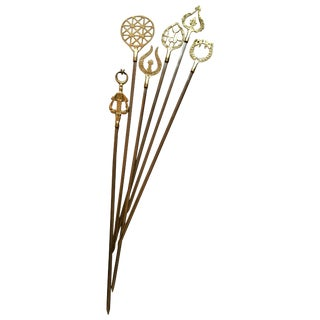 Set of 6 Brass Skewers For Sale
