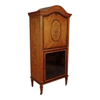 Antique Satinwood Musical Inlaid French Adams Sheet Music Cabinet Etagere Stand For Sale