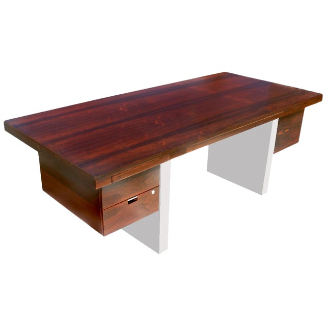 Dunbar Roger Sprunger Stainless Rosewood Desk - Image 1 of 5