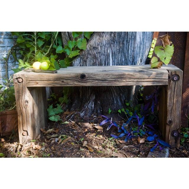 Reclaimed Wood Garden Loveseat Bench - Image 2 of 9