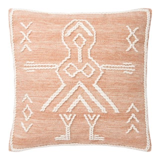 "Justina Blakeney X Loloi Rust / Ivory 22"" X 22"" Cover with Down Pillow For Sale"