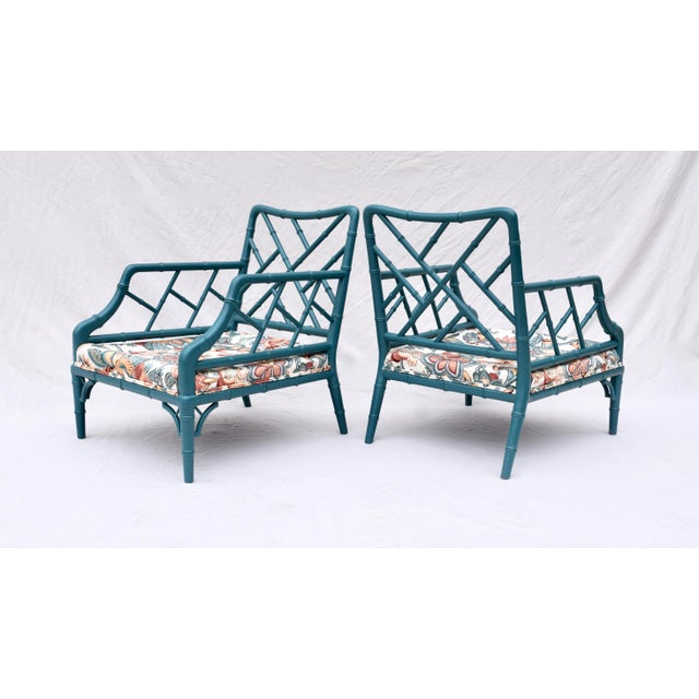 Faux Bamboo Chinese Chippendale Lounge Chairs For Sale - Image 9 of 13