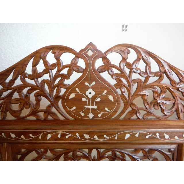 Carved & Inlayed Rosewood Screen For Sale - Image 4 of 11
