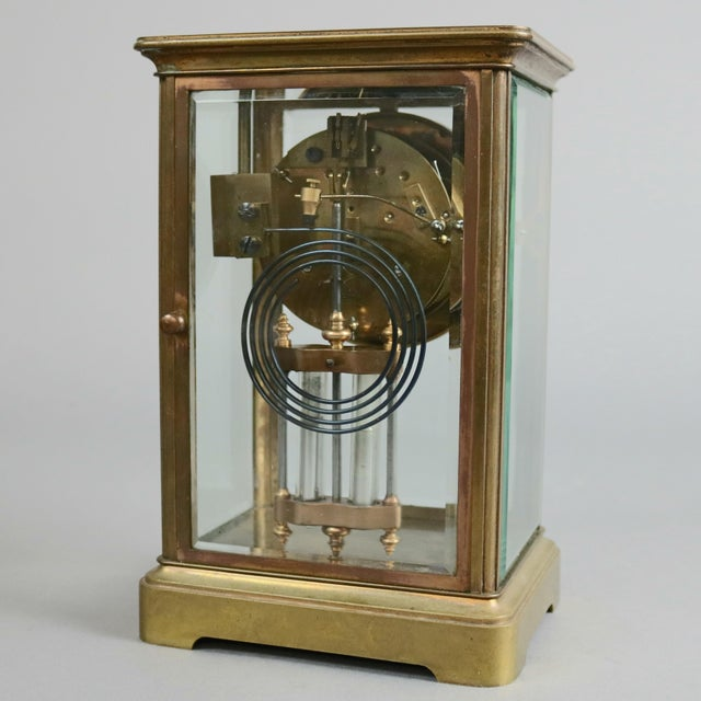 Tiffany and Co. Antique Tiffany & Co. Crystal and Brass Regulator Mantel Clock, circa 1890 For Sale - Image 4 of 9