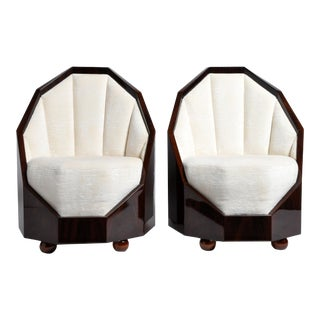 Pair of Art Deco Style Cocoon Chairs For Sale