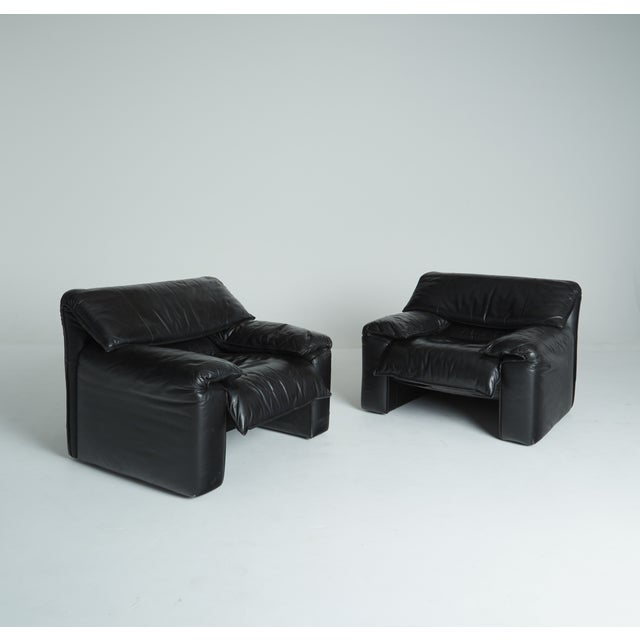 Black Leather Italian Club Chairs - Pair - Image 2 of 11