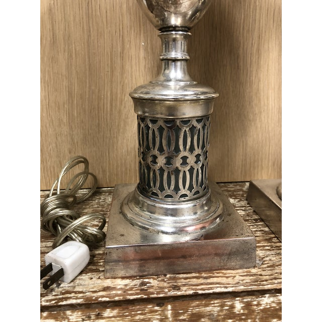 English Traditional Antiqued Chrome Finish Table Lamps - a Pair For Sale - Image 4 of 5