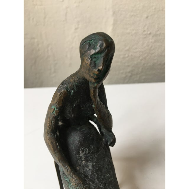 Modern Bronze Seated Lady Sculpture by Laura Ziegler For Sale - Image 3 of 7
