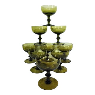 1960s Carlo Moretti Style Green Champagne Coupes - Set of 9 For Sale