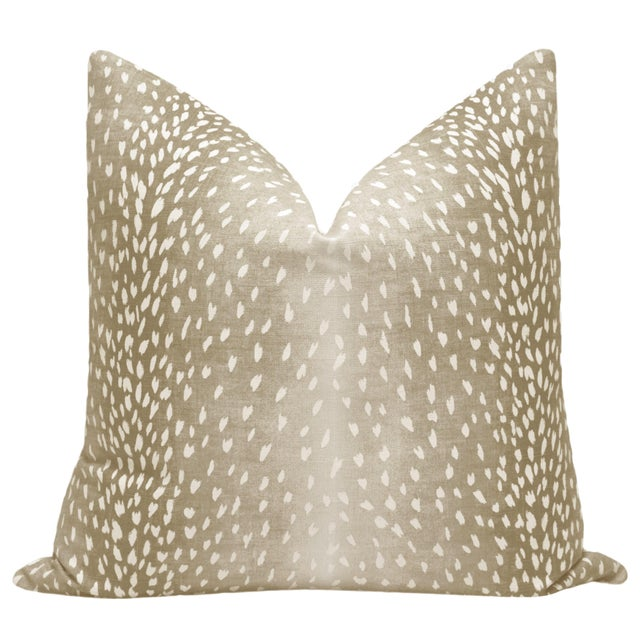 Pair of beautiful custom-made Antelope Linen Print pillows in Natural. Meticulously handcrafted with serged interior...