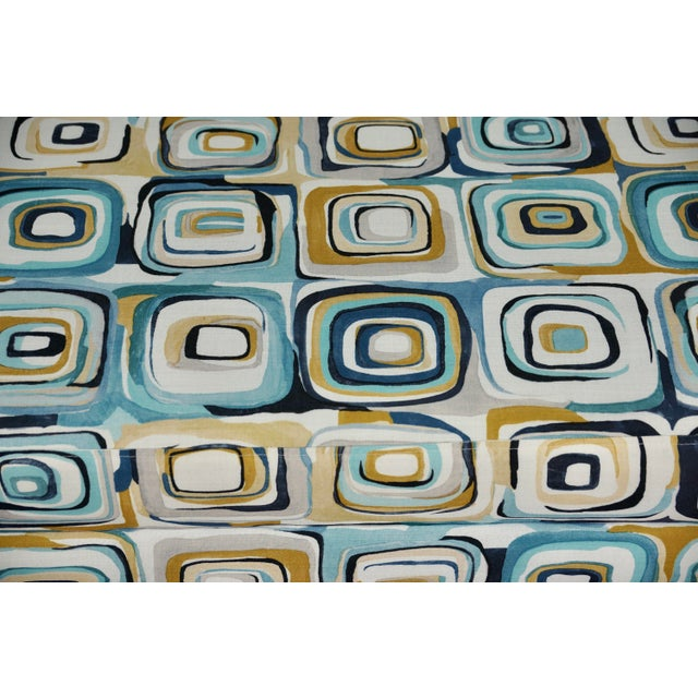 Late 20th Century Abstract Blue & Tan Upholstered Bench For Sale - Image 5 of 7