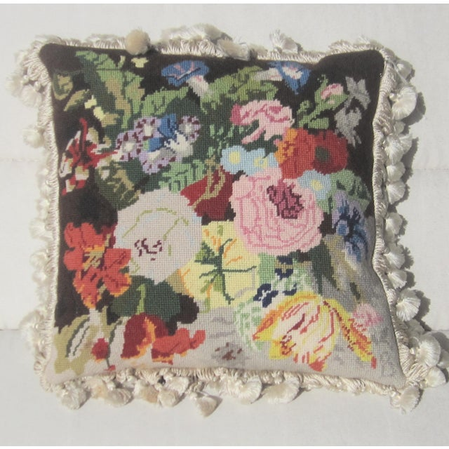 1990s Wool and Silk Flower Needlpoint Pillow For Sale - Image 4 of 4