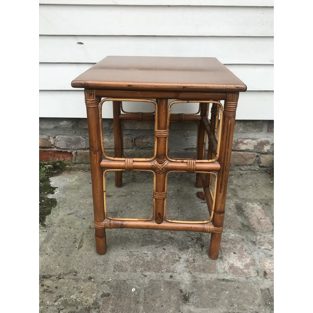 1960s 1960s Mid-Century Modern Rattan Nesting Tables - Set of 3 For Sale - Image 5 of 13