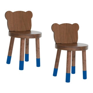 Nico & Yeye Baba Kids Chair Solid Walnut Pacific Blue - Set of 2 For Sale
