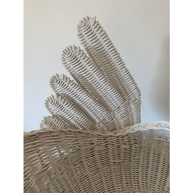 1960s Vintage White Wicker Swan Basket For Sale - Image 5 of 11