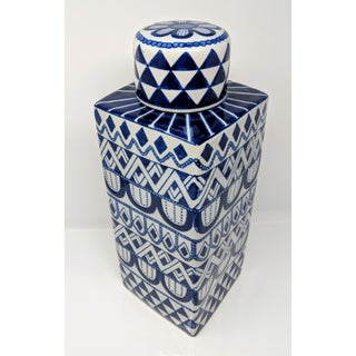 Vintage Square Blue and White Ceramic Jar - Chinoiserie Preview