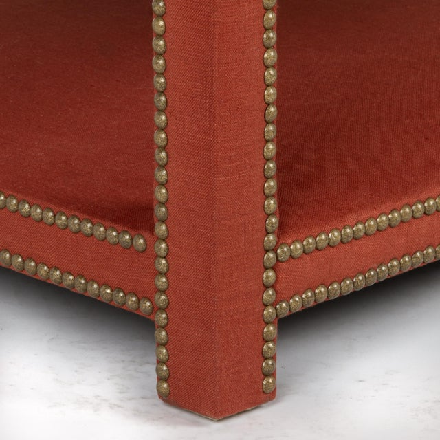 Traditional Kensington Ottoman in Paprika Linen For Sale - Image 3 of 6
