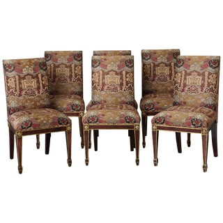 Set of 6 Regency Dining Chairs With Gild Elements For Sale