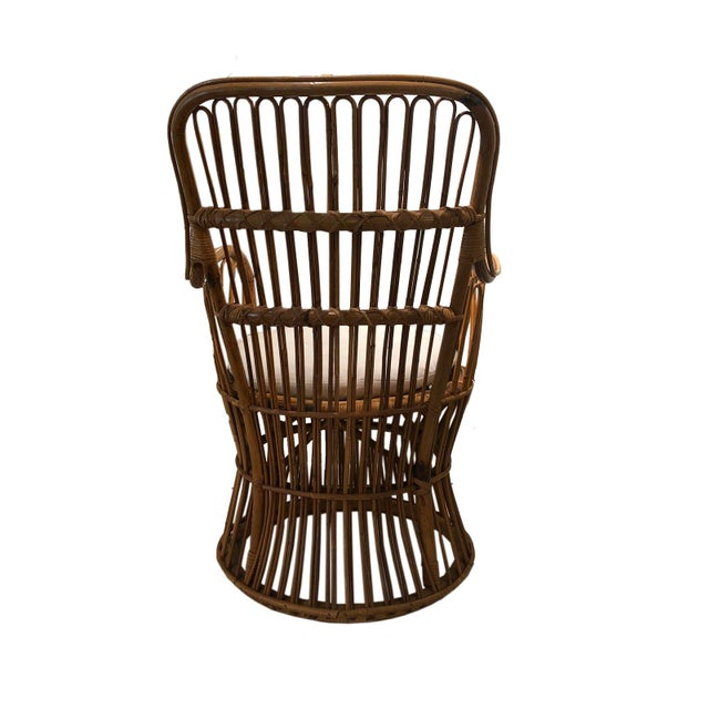 Mid 20th Century Vintage Coastal Rattan Chair With New Upholstered Cushion For Sale - Image 5 of 7