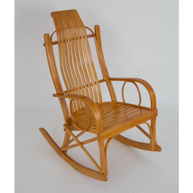 Bentwood Adirondack Rocking Chair with Slatted Seat For Sale In Los Angeles - Image 6 of 9
