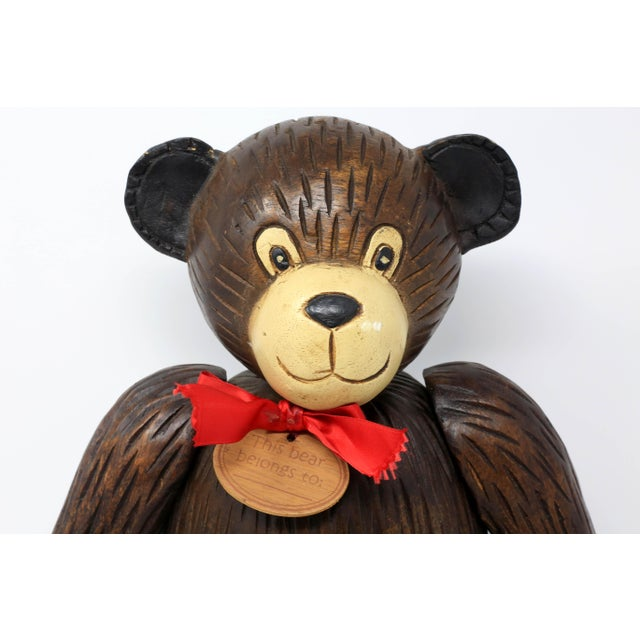 Vintage Hand-Carved Wood Jointed Teddy Bear For Sale In Tampa - Image 6 of 9