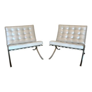Knoll Barcelona Chairs by Mies Van Der Rohe-a Pair For Sale