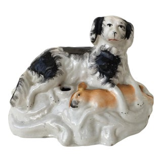 Staffordshire Inkwell of Spaniel & Rabbit For Sale
