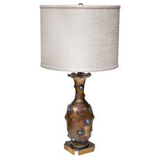 Mid Century Brass Hand Tooled Lamp With Shade For Sale