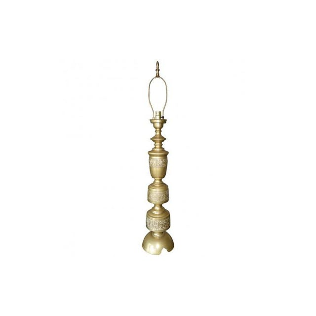 Art Deco Turned Cast Brass Altar Stick Lamps - A Pair For Sale - Image 3 of 4
