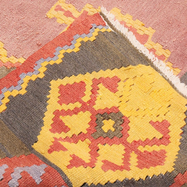 """Textile 1930s Vintage Mid-Century Geometric Pink and Yellow Wool Kilim Rug-7'3'x13'10"""" For Sale - Image 7 of 8"""