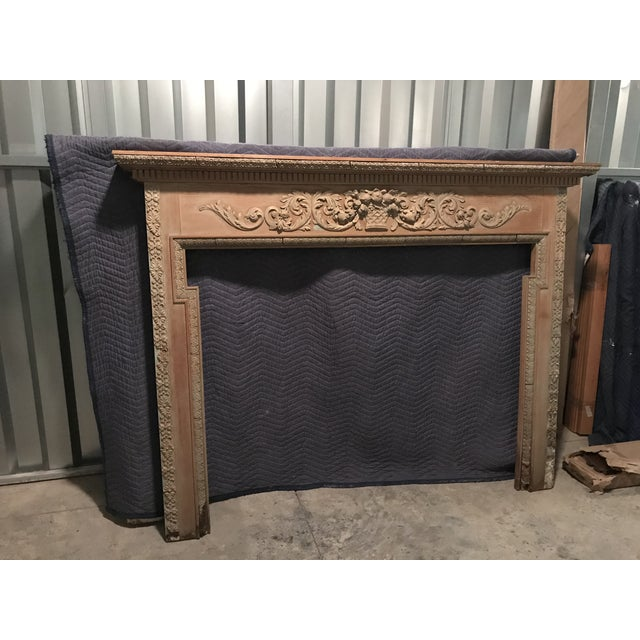 Wood Antique English Carved Pine Mantel For Sale - Image 7 of 7