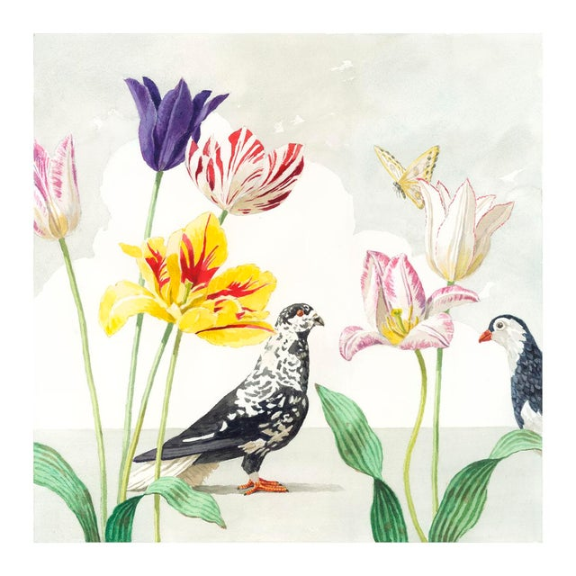 """Tulips With Two Pigeons"" Giclée Print - Image 2 of 3"