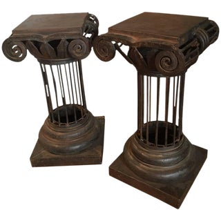 Arturo Pani Iron Column Side Tables - A Pair For Sale