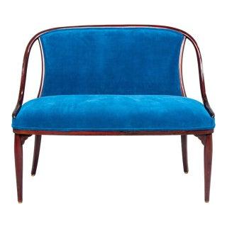 Thonet Settee With New Teal Blue Velvet Upholstery For Sale