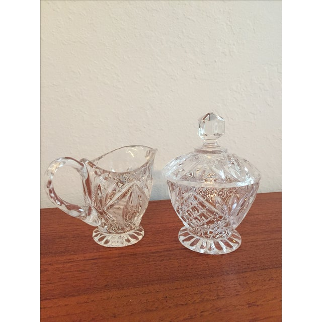 Vintage Cut Glass Cream & Sugar Set with Lid For Sale - Image 3 of 10