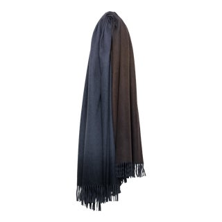 Nuance Ombre Cashmere Throw, Brown and Blue For Sale