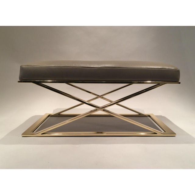 Milo Baughman X-Leg Leather Bench - Image 5 of 7