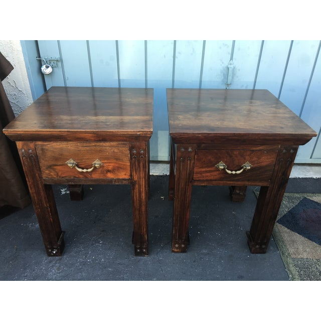 Wood Rustic Side Tables - A Pair - Image 2 of 6