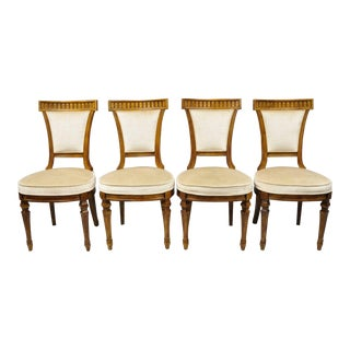 Late 20th Century Vintage Drexel Heritage French Empire Style Dining Chairs - Set of 4 For Sale