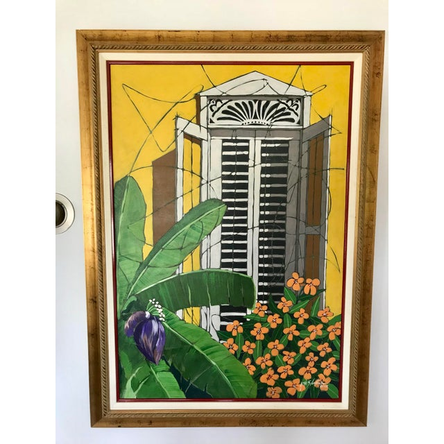 """Green Original """"Ventana Amarilla"""" Oil Painting By Jorge Silvestre For Sale - Image 8 of 8"""
