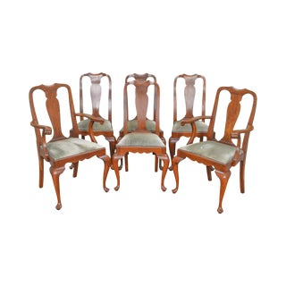 Henkel Harris Vintage Solid Cherry Queen Anne Dining Chairs - Set of 6